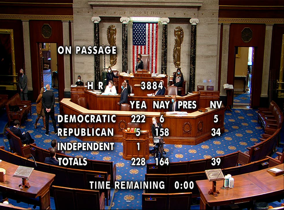 <p>This image from House Television shows the final vote, 228-164, in the House on passage of a bill to decriminalise and tax marijuana at the federal level</p>