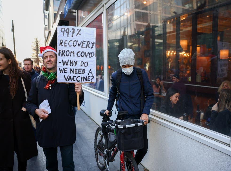 <p>An anti-lockdown demonstration in London on Saturday</p>