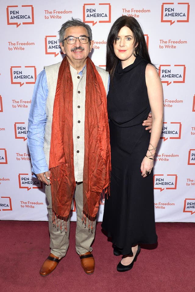 <p>Salil Tripathi and Lauren Walsh pictured in March 2020 in New York</p>