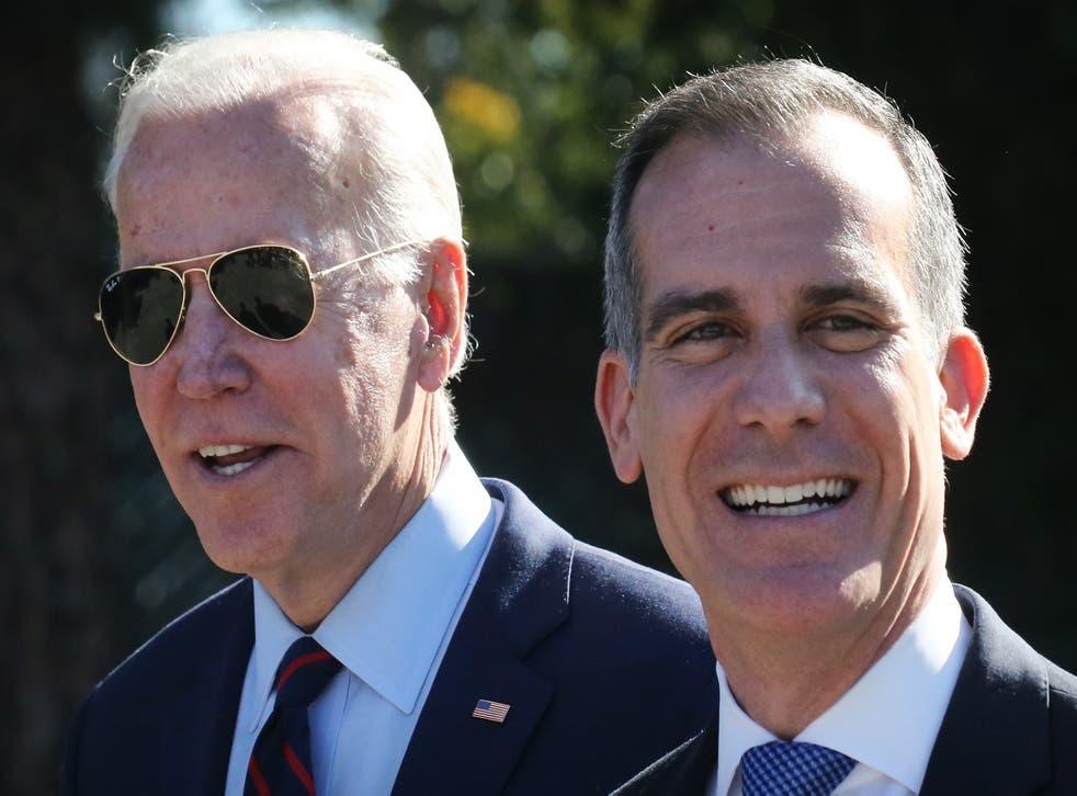 <p>Garcetti apoyó a Biden durante su campaña presidencial</p>