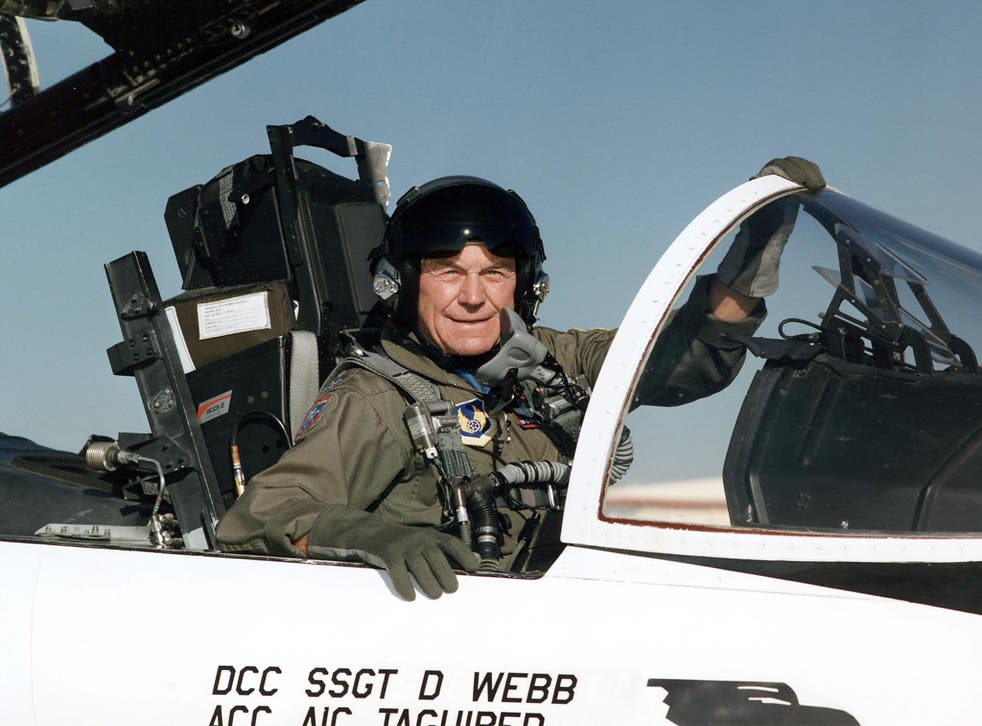 """<p>File image: Charles E. """"Chuck"""" Yeager in the cockpit of an F-15 fighter aircraft at US air force base in California</p>"""