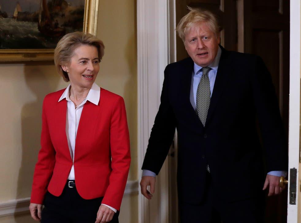 Boris Johnson meets Ursula von der Leyen at 10 Downing Street in January