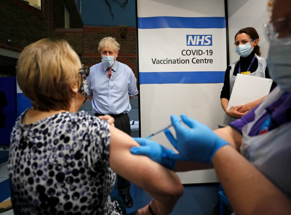 <p>Boris Johnson was at Guy's Hospital to see the vaccine be administered&nbsp;</p>
