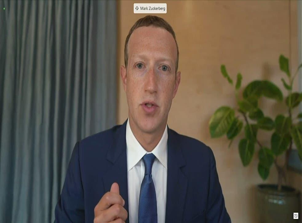 <p>Zuckerberg met with the then culture secretary Matt Hancock at a tech conference in 2018</p>