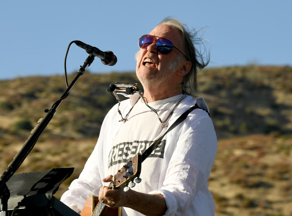Neil Young performs at a benefit on 14 September 2019 in Lake Hughes, California