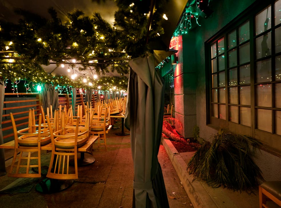 <p>Closed outdoor dining area of a restaurant in Rowland Heights, California</p>