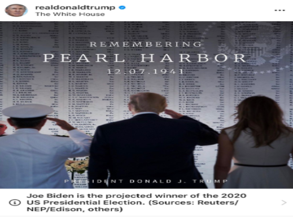 Donald Trump's Instagram post marking the anniversary of Pearl Harbor was flagged to say Joe Biden won the election