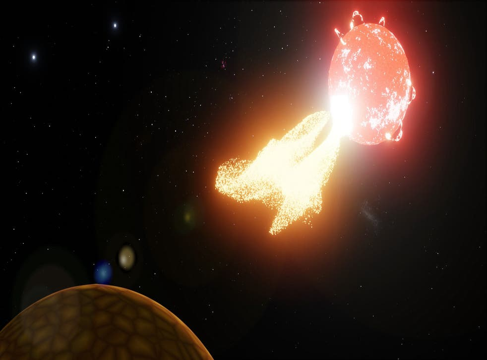 Artist's impression of flare from our neighbouring star Proxima Centauri ejecting material onto a nearby planet