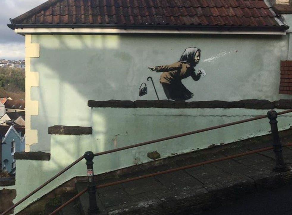<p>The new Banksy artwork in Bristol</p>