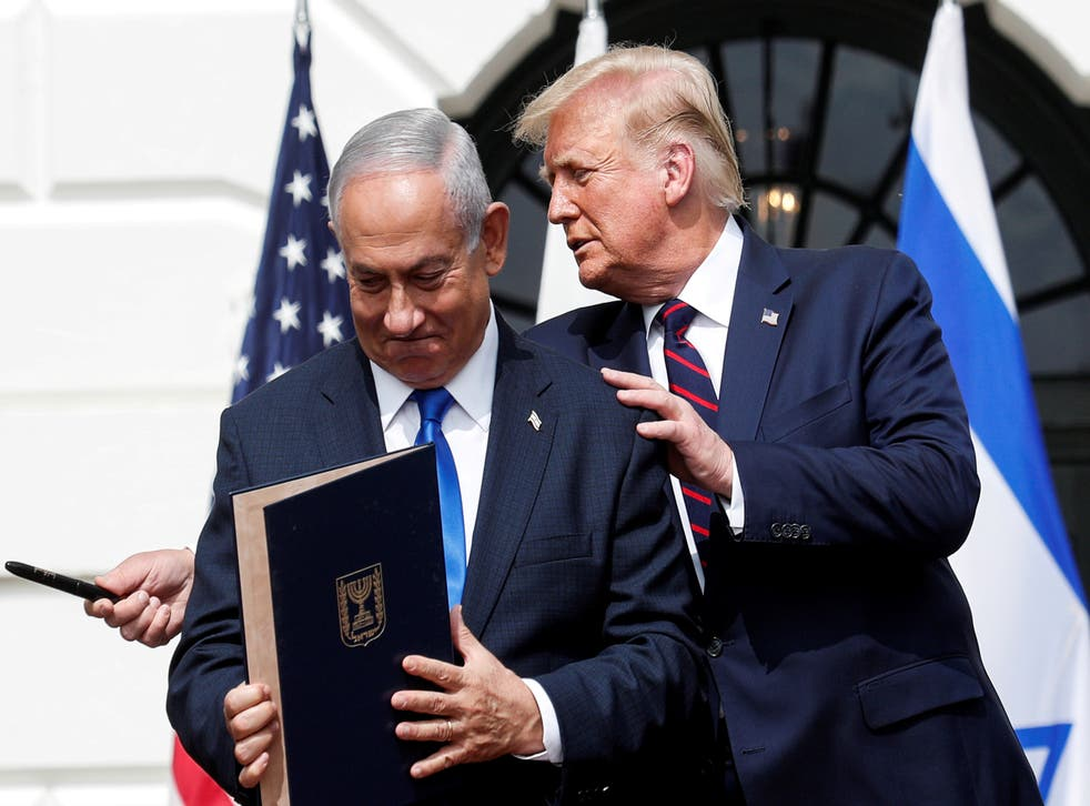 <p>Trump hosts leaders, including Benjamin Netanyahu, for the Abraham Accords signing ceremony at the White House in Washington in September</p>