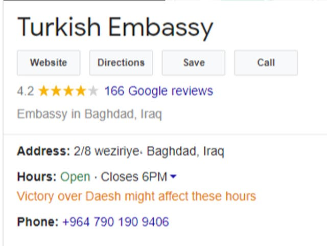 A Google search result for the Turkish Embassy in Baghdad, Iraq, carries the notification 'Victory over Daesh might affect these hours'