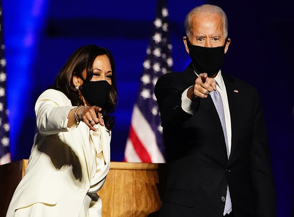 <p>File image: Vice President-Elect Kamala Harris (L) and President-elect Joe Biden (R) gesture as they arrive for their victory address after being declared the winners in the 2020 US presidential election, in Wilmington, Delaware, USA, 07 November 2020&nbsp;</p>