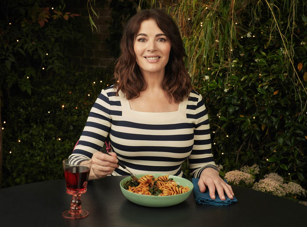 Nigella Lawson eats pasta with nduja and cavolo nero (alone) in Cook, Eat, Repeat
