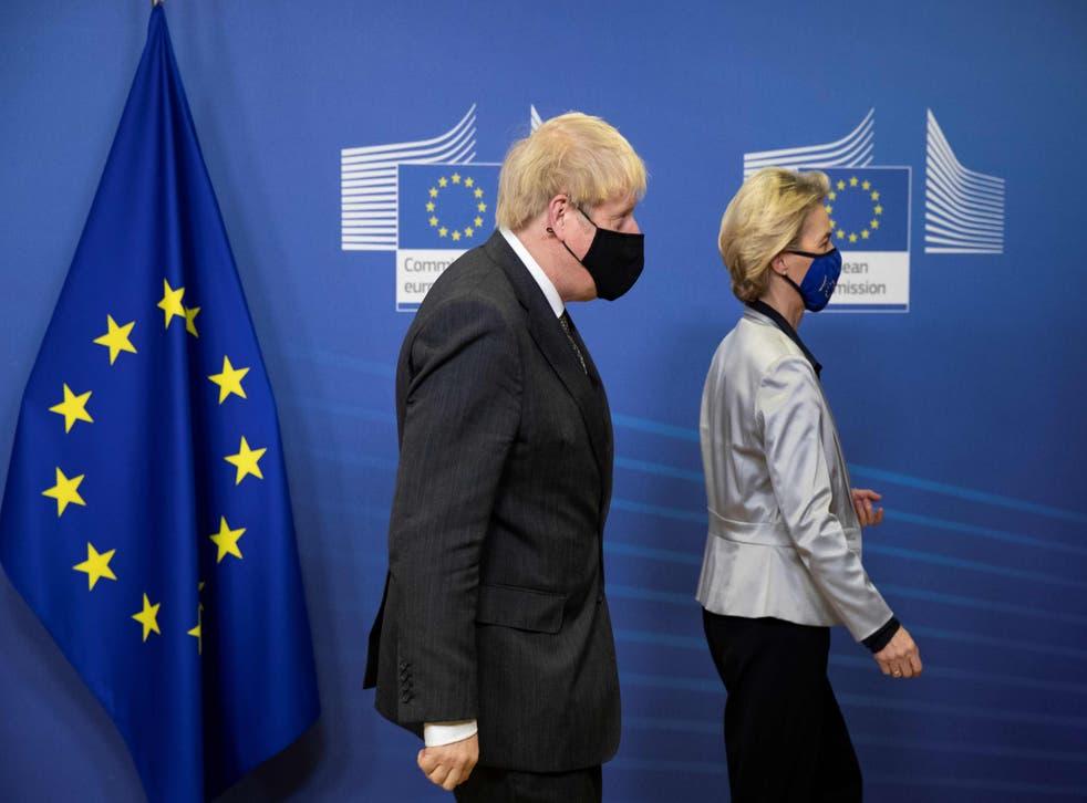 <p>Boris Johnson and Ursula von der Leyen may have parted ways, but the EU is still funding British local authorities</p>
