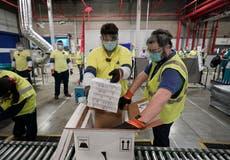 Pfizer Covid vaccine trucks leave Michigan factory