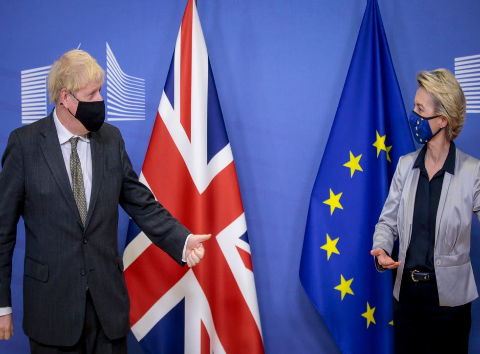 <p>Boris Johnson meets European Commission president Ursula von der Leyen for Brexit talks in Brussels</p>