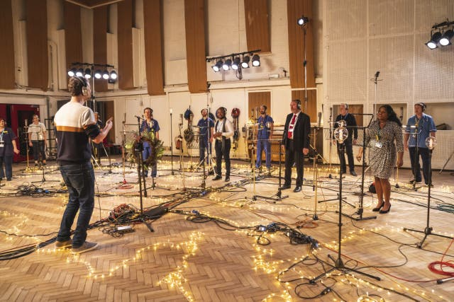 The NHS choir recording 'Holy' at Abbey Road