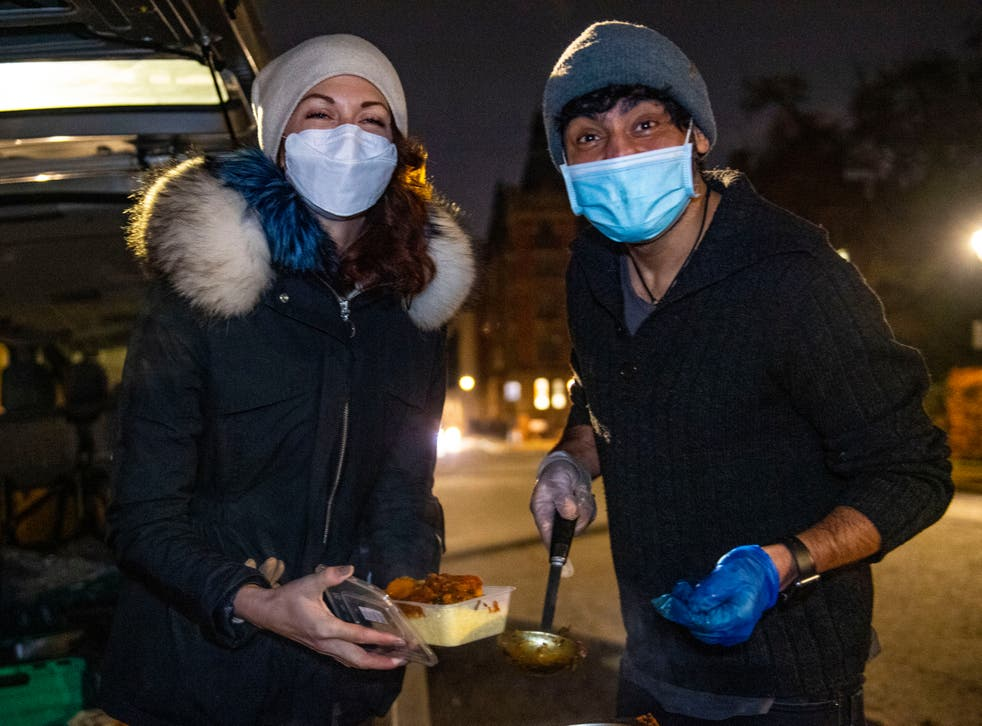 <p>Volunteers from the Hare Krishna movement in Lincoln's Inn Fields to help feed people in need during the 2020 coronavirus pandemic</p>