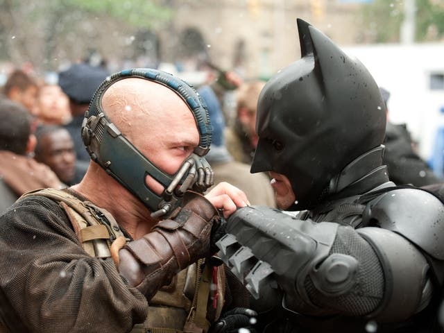 Bane (Tom Hardy) grapples with Batman in Christopher Nolan's The Dark Knight Rises