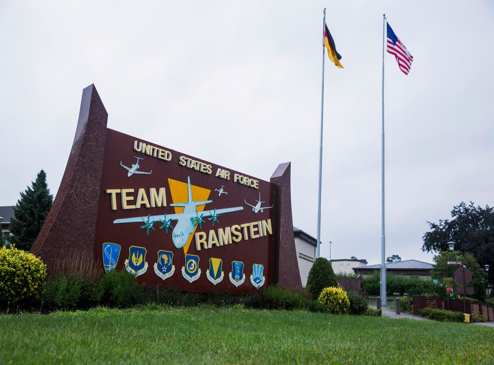 In this 30 July 2014 file photo US and German flags fly outside the Ramstein Air Base, Germany