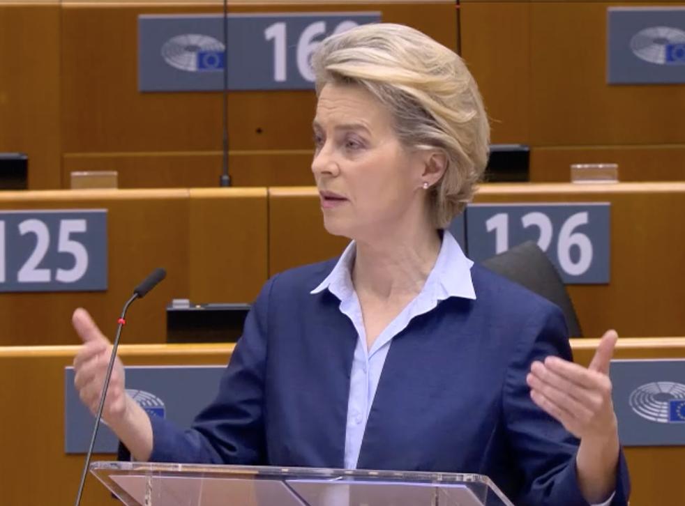 <p>Ursula von der Leyen speaking in the European Parliament on Wednesday morning</p>