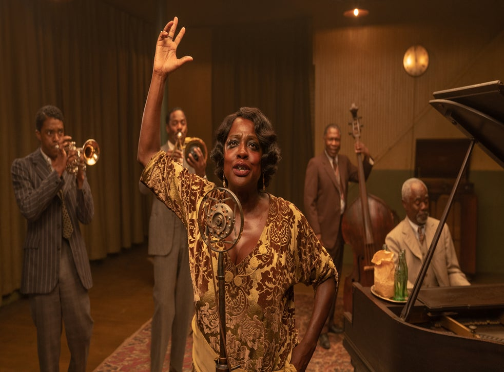 <p>Viola Davis, as Ma Rainey, burns through the pageantry, her ferocity only dulled by the occasional wave of exhaustion</p>