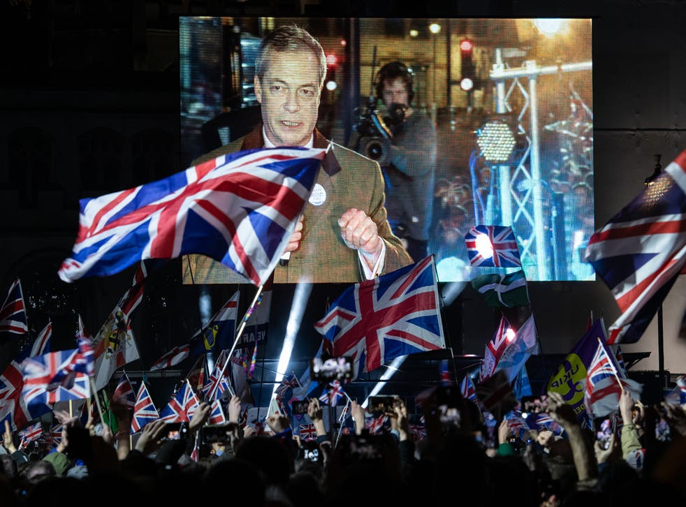 <p>Farage addresses pro-Brexit supporters at the Leave Means Leave party at Parliament Square on 31 January 2020</p>