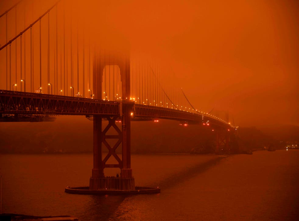 <p>A smoke-filled sky at midday over the Golden Gate Bridge in San Francisco on 9 September.</p>