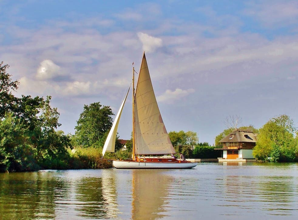 The group of friends had hired a boat and were sailing along the River Bure in Norfolk
