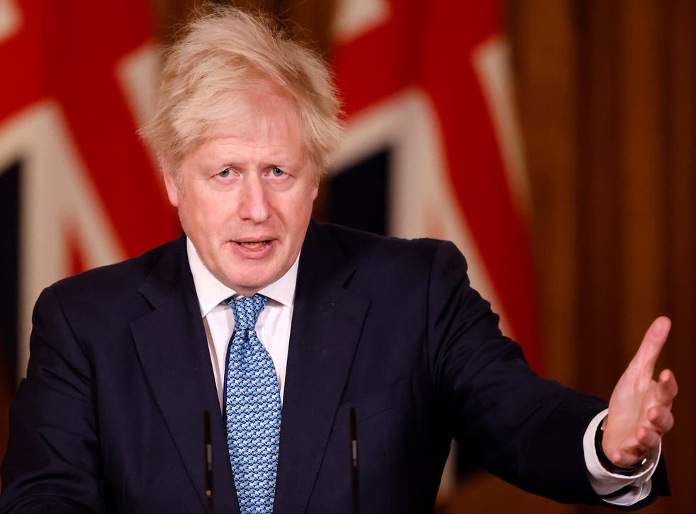 Boris Johnson leading a media briefing in Downing Street on Monday