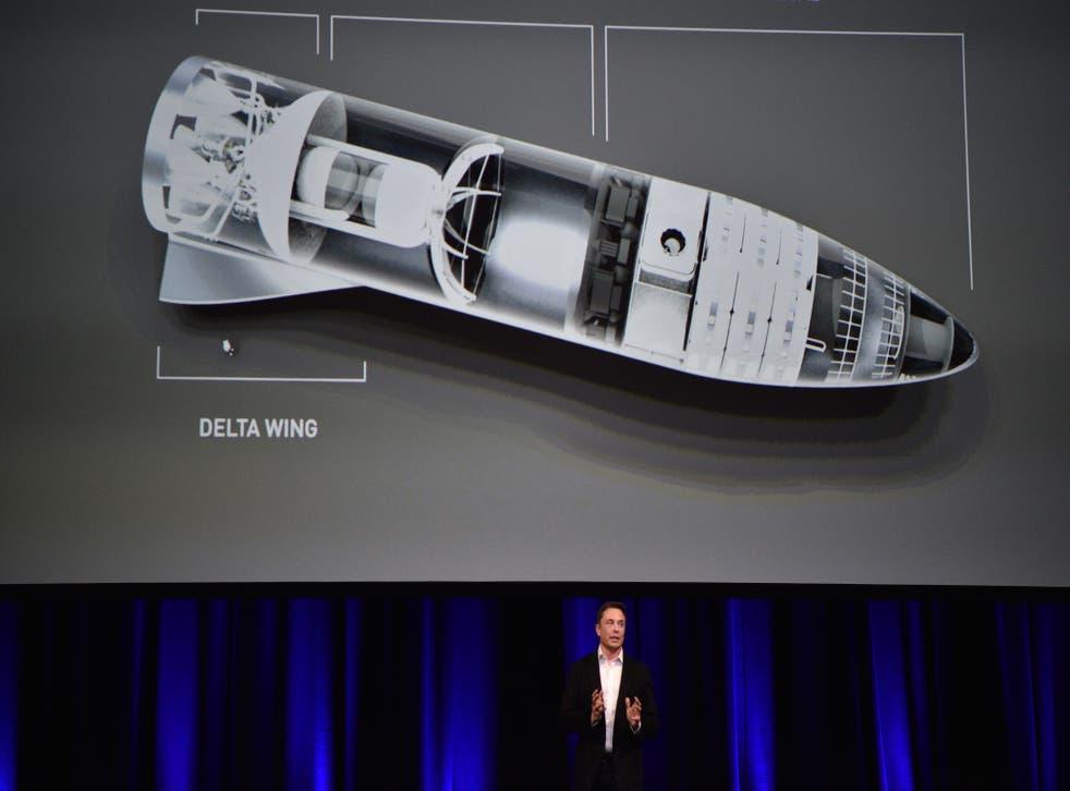<p>El empresario multimillonario y fundador de SpaceX Elon Musk habla debajo de una ilustración generada por computadora de su nuevo cohete en el 68o Congreso Astronáutico Internacional 2017 en Adelaida el 29 de septiembre de 2017. Musk dijo que su compañía SpaceX ha comenzado un trabajo serio en el cohete BFR como él planea un sistema de transporte interplanetario.&nbsp;</p>