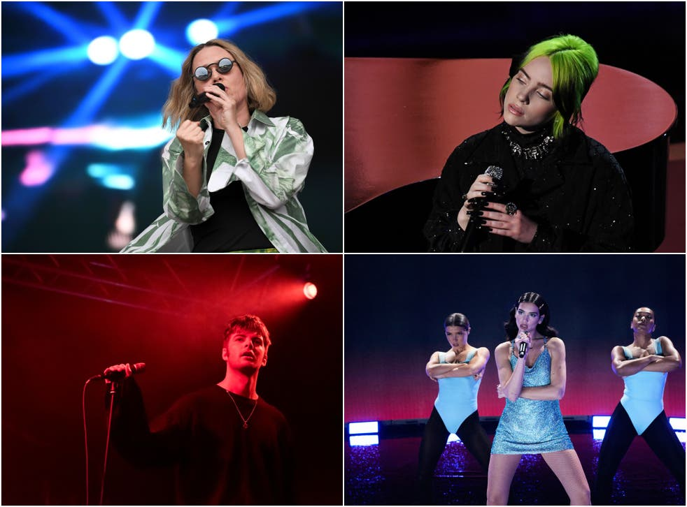 <p>Clockwise from top left: Róisín Murphy, Billie Eilish, Fontaines DC and Dua Lipa</p>