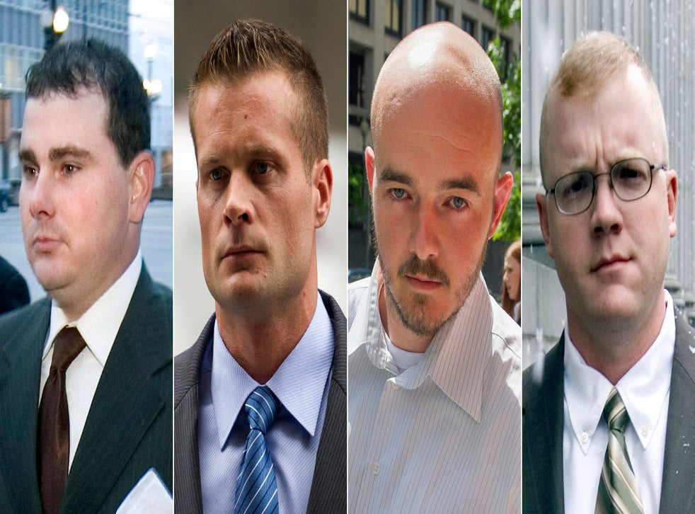 Blackwater guards, from left, Dustin Heard, Evan Liberty, Nicholas Slatten and Paul Slough. On Tuesday, Dec. 22, 2020, President Donald Trump pardoned 15 people, including Heard, Liberty, Slatten and Slough, the four former government contractors convicted in a 2007 massacre in Baghdad that left more a dozen Iraqi civilians dead and caused an international uproar over the use of private security guards in a war zone. (AP Photo/File)