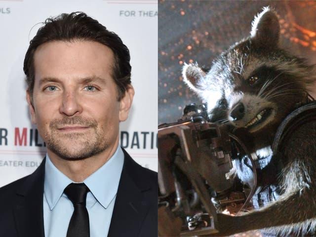 Bradley Cooper y Rocket Raccoon de Guardianes de la Galaxia