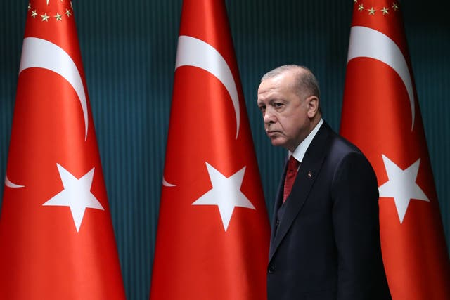 President of Turkey, Recep Tayyip Erdogan, arrives to give a press conference after the cabinet meeting at the Presidential Complex in Ankara, Turkey, on September 21, 2020.