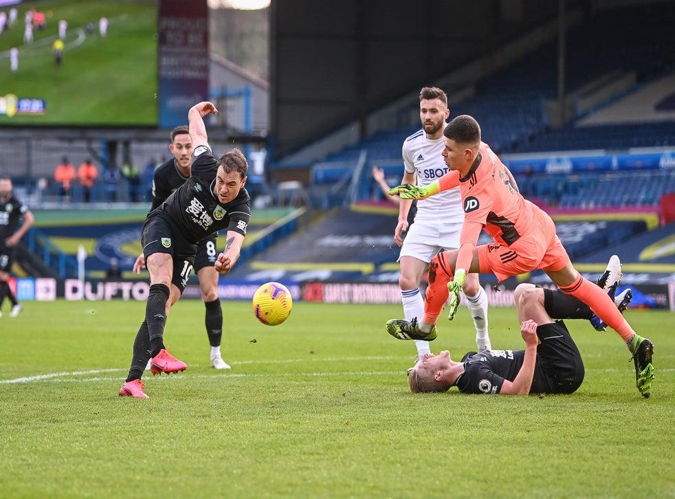 Ashley Barnes strikes at goal