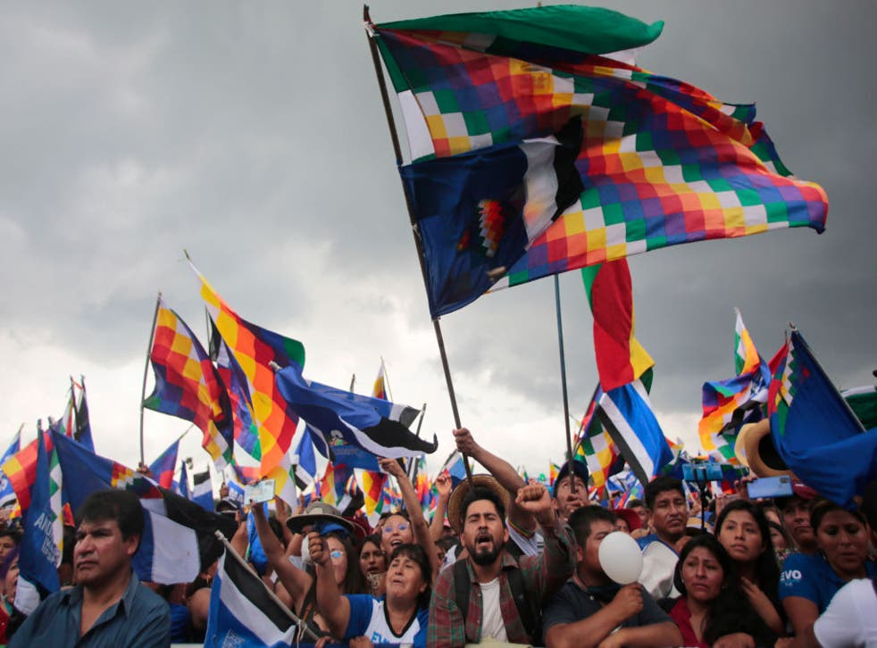 <p>Supporters of the former president of Bolivia, Evo Morales, attend a rally to welcome him home in November after his exile</p>