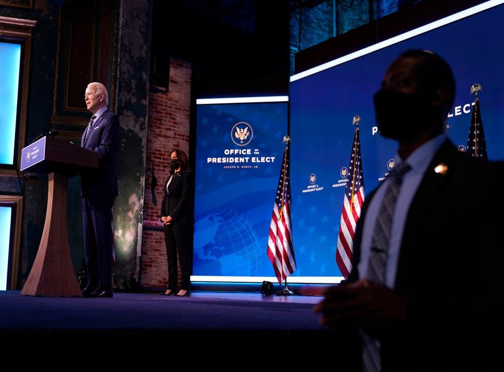 <p>President-elect Biden speaks in Wilmington, Delaware</p>