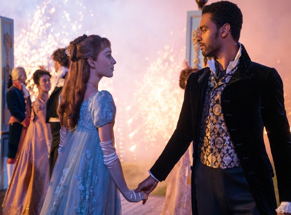 <p>Daphne (Phoebe Dynevor) and Simon Basset (Regé-Jean Page) strike up a romantic deal in Bridgerton</p>