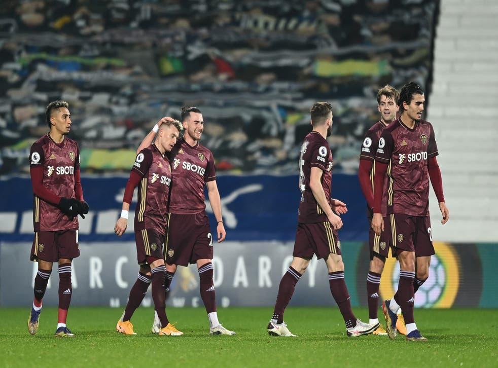Leeds celebrate after Ezgjan Alioski's goal