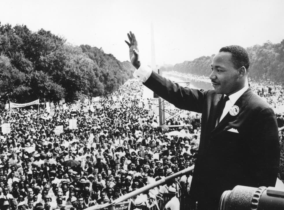 <p>Martin Luther King Jr during the March on Washington at the Lincoln Memorial, where he gave his 'I have a dream' speech</p>