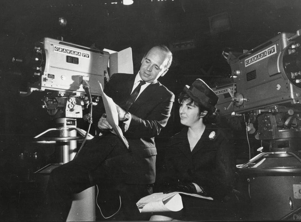 <p>Adele Rose with fellow writer John Finch on the set of Coronation Street in 1962</p>
