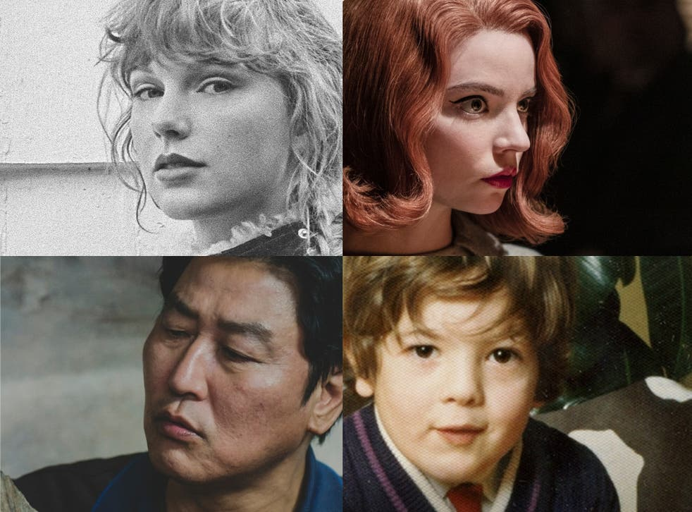 Clockwise: Anya Taylor-Joy in The Queen's Gambit, Pete Paphides' Broken Greek, Kang-Ho Song in Parasite, and Taylor Swift