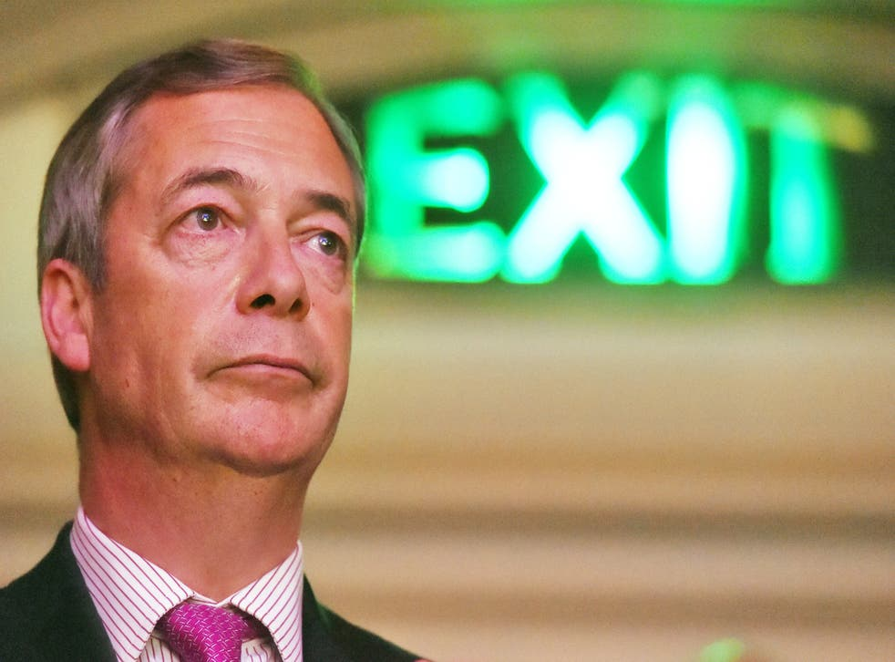 Nigel Farage at a Leave Means Leave rally at Central Hall in London in 2019