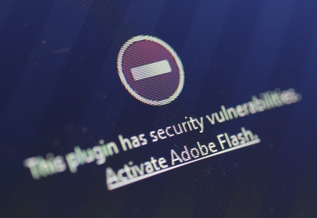 A window on the Mozilla Firefox browser shows the browser has blocked the Adobe Flash plugin from activating due to a security issue on July 14, 2015 in Berlin, Germany