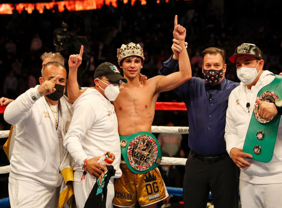 <p>Ryan Garcia celebrates after winning by seventh round knockout</p>