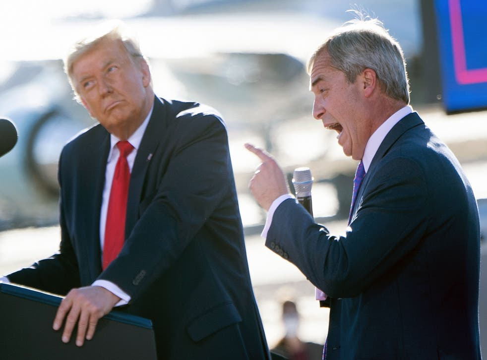 With Donald Trump at a Make America Great Again rally in October 2020. Farage reportedly lost a £10,000 bet on the winner of the US election after backing President Trump to retain the White House