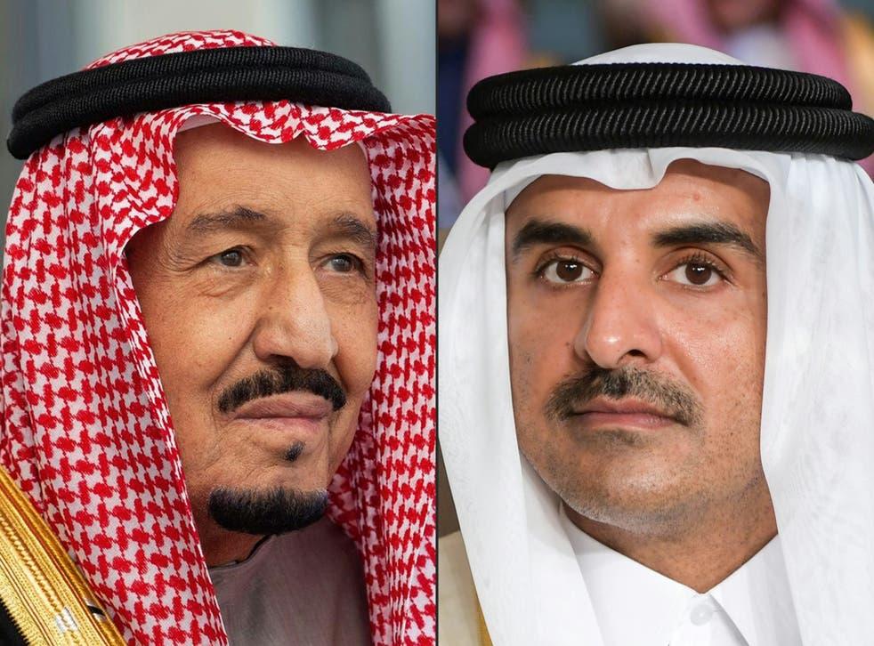 <p>Healing the rift: Saudi Arabia's King Salman bin Abdulaziz (left) and Qatar's emir Sheikh Tamim bin Hamad Al-Thani</p>
