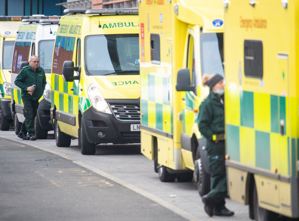 <p>Ambulances forced to wait outside the Royal London Hospital in Whitechapel causing long delays in getting to patients</p>