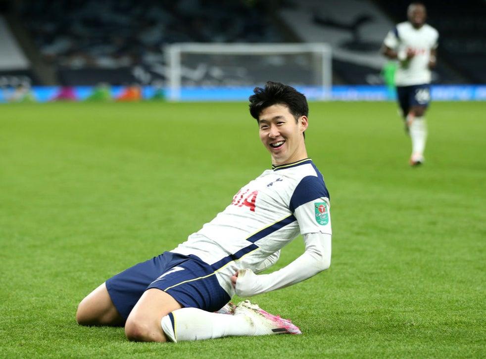 <p>Son Heung-min scores Tottenham's second</p>